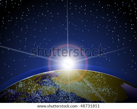 Vector of rising sun over earth viewed from space