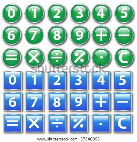 Vector of round and square calculator buttons - stock vector