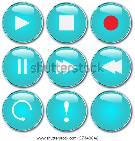 Vector of round audio control buttons - stock vector