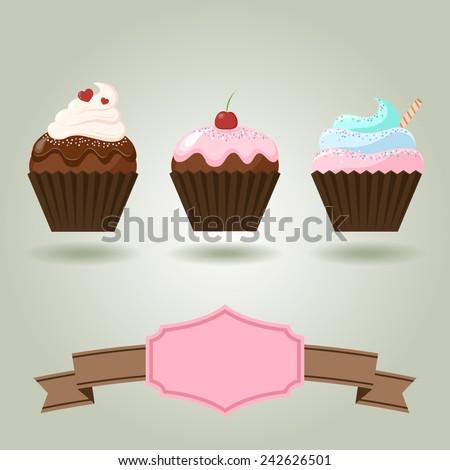 Vector of Set delicious cupcakes. Vector eps10. - stock vector