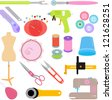 Vector of Sewing Tools and Handicraft accessories - stock vector