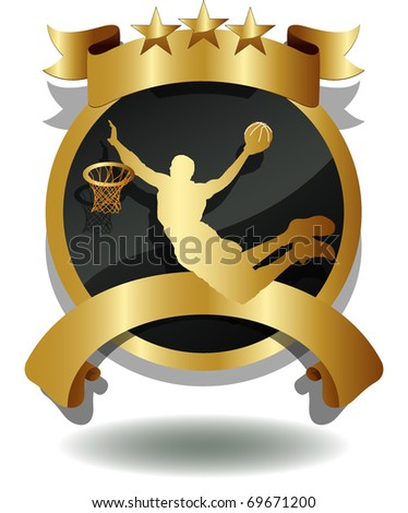 vector of shield of basketball player's silhouette - stock vector
