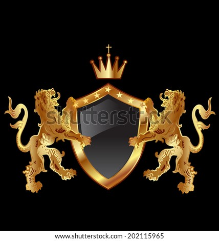Vector of shield with heraldic lions icon design - stock vector