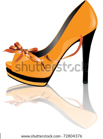 Vector of shoe of woman's heel in yellow color - stock vector