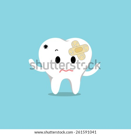 Vector of Sick tooth with crack and patch for Healthcare  - stock vector