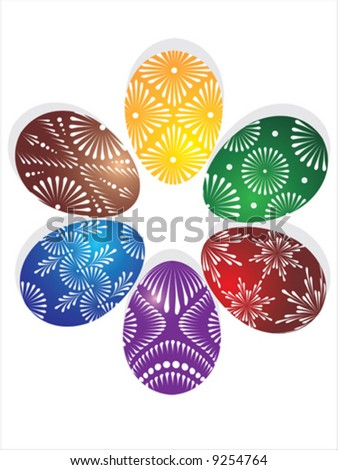 Vector of six coloured eggs in circle
