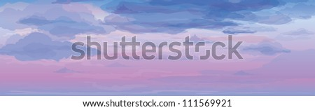 Vector of sky background, sunrise or sunset. - stock vector