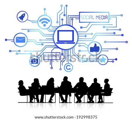 Vector of social media themed background with silhouettes of business people sitting around the conference table. - stock vector