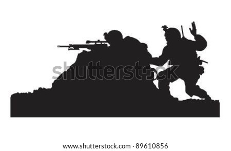 Vector of soldiers on action. - stock vector