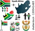 Vector of South Africa map with flag, coat of arms and other icons on white - stock photo