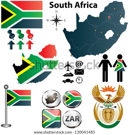 Vector of South Africa map with flag, coat of arms and other icons on white - stock vector