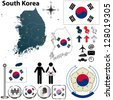 Vector of South Korea set with detailed country shape with region borders, flags and icons - stock photo