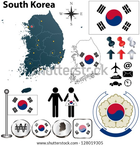 Vector of South Korea set with detailed country shape with region borders, flags and icons - stock vector