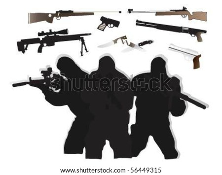 Vector of Special Forces weapons.