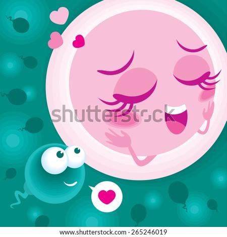 Vector of sperm meet ovum - stock vector