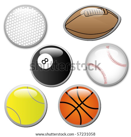 Vector of sports ball buttons - stock vector