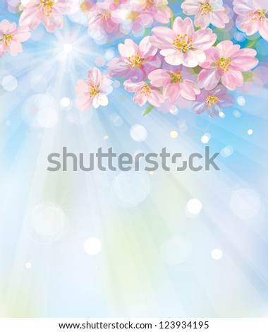 Vector of spring blossoming tree with sky background - stock vector