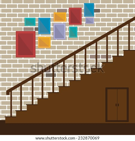 Vector of stair and photo frame - stock vector