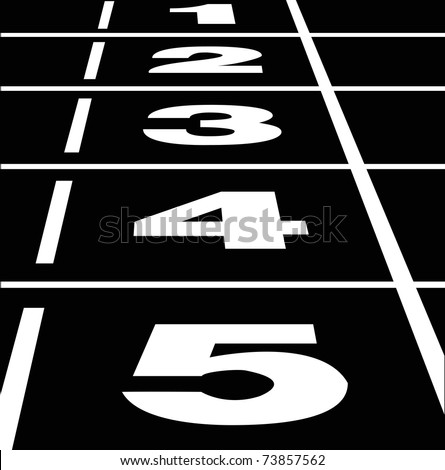 Vector of start or finish position on a black running track - stock vector