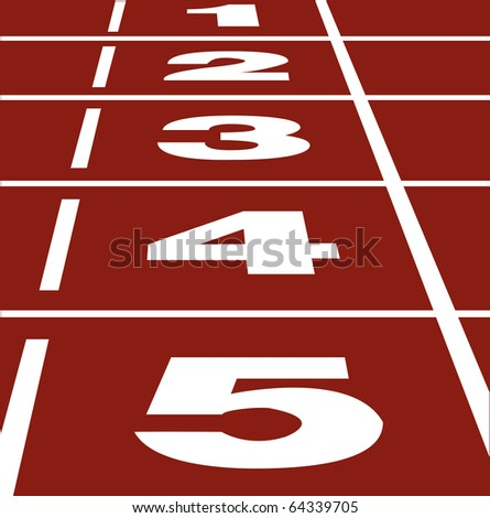 Vector of start or finish position on running track - stock vector