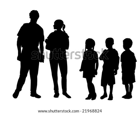 Vector of students congregating in schoolyard