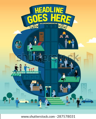 Vector of stylised illustration about career success  - stock vector
