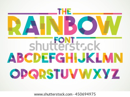 Vector of stylized colorful font and alphabet - stock vector