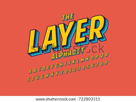 Vector of stylized layered font and alphabet