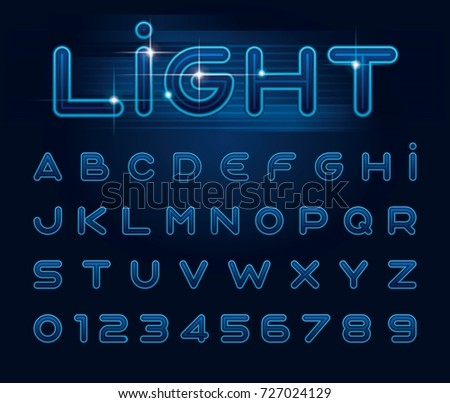 Vector of stylized light font and alphabet, neon letters