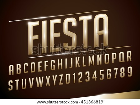 Vector of stylized metallic font and alphabet - stock vector