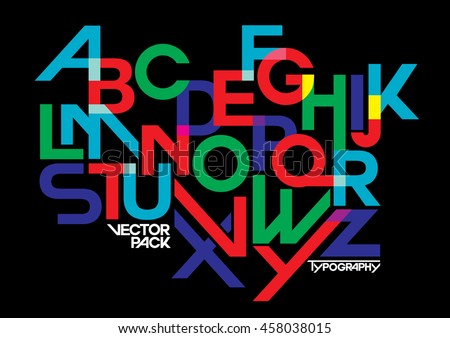 Vector of stylized modern font and alphabet - stock vector