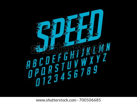 Vector of stylized speedy font and alphabet