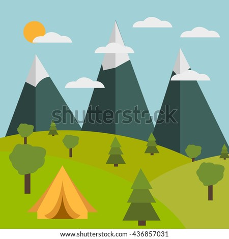 Vector of summer and travel banner symbol or icon - stock vector