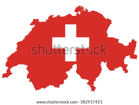 Vector of Swiss map with flag.