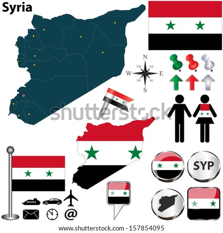 Vector of Syria set with detailed country shape with region borders, flags and icons - stock vector
