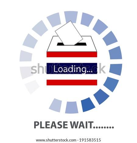 Vector of Thai Democracy  vote label (vote symbol, vote icon, ballot box, hand putting a voting ballot in a slot of box). PLEASE WAIT THAILAND Concept - stock vector