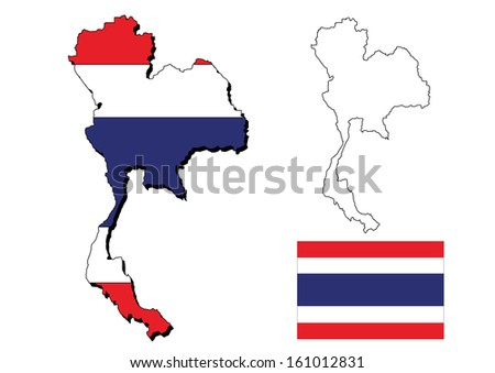 vector of  thailand map with  thai flag - stock vector