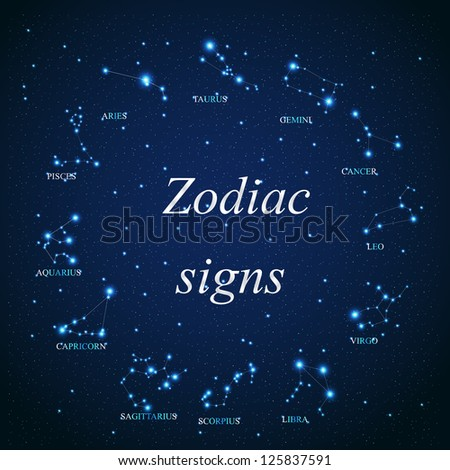 vector of the aries zodiac sign of the beautiful bright stars on the background of cosmic sky - stock vector