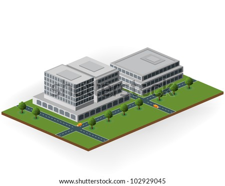 Vector of the building in shades of gray to green