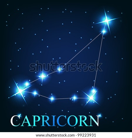 vector of the capricorn zodiac sign of the beautiful bright stars on the background of cosmic sky - stock vector