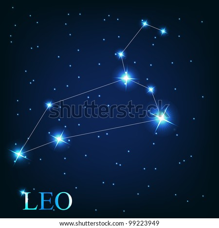 vector of the leo zodiac sign of the beautiful bright stars on the background of cosmic sky - stock vector