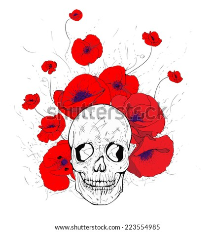 vector of the skull and poppies in red - stock vector