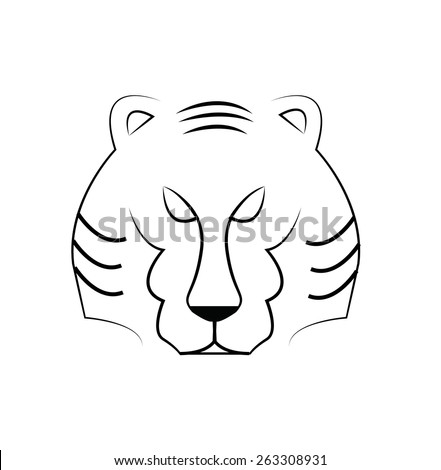Vector of Tiger head outline, illustration - stock vector