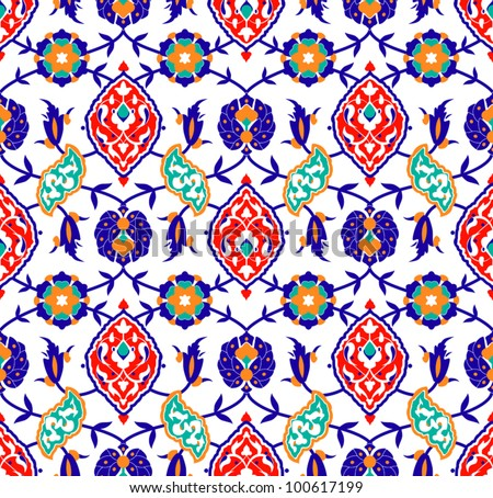 Vector of Traditional Islamic flower Pattern on white - stock vector