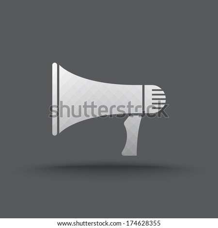 Vector of transparent megaphone icon on isolated background - stock vector
