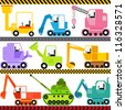 Vector of Transportation theme - Engineering Vehicle, caterpillar truck, Tractor, tank. A set of cute and colorful icon collection isolated on white background - stock vector
