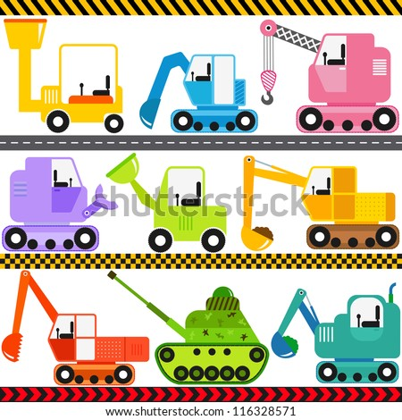 Vector of Transportation theme - Engineering Vehicle, caterpillar truck, Tractor, tank. A set of cute and colorful icon collection isolated on white background