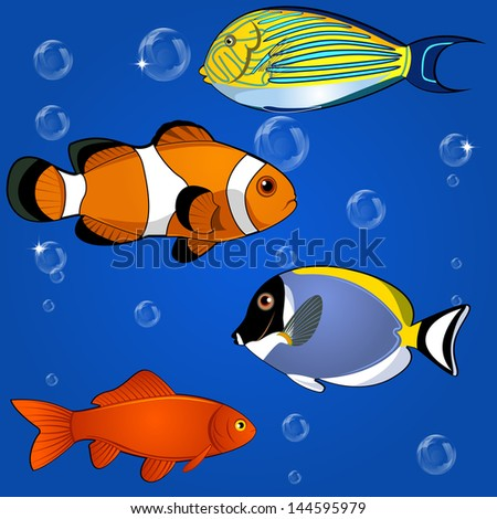 Vector of tropical fish set on white background - stock vector