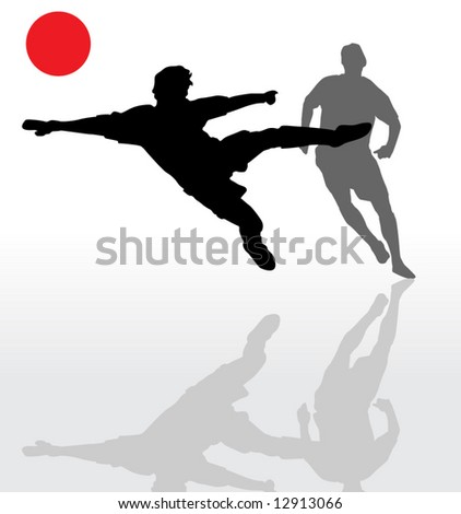 Vector of two soccer players - stock vector