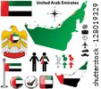 Vector of United Arab Emirates set with detailed country shape with region borders, flags and icons - stock photo